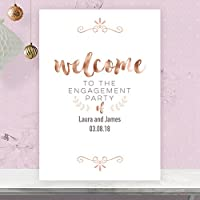 Personalised Welcome To Our Engagement Party Sign Poster in Rose Gold Effect & Peach RG56