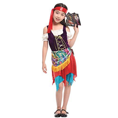 LOLANTA 3pcs Kind Mädchen Gypsy Off-Schulter-Kleid Kostüm Halloween Wahrsagerin Rollenspiel-Outfit (5-6 Jahre) (Gypsy Halloween Kostüm Zubehör)