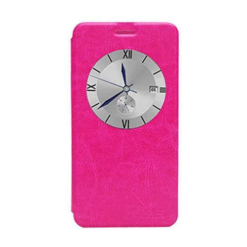 GOGODOG Elephone P7000 Hülle Ultra Schlank Leder Stoßstang Voll Karosserie Schutz Brieftasche Geschäft Stil mit Stand Funktion & Auto Schlaf Aufwachen Oben (Rosa)
