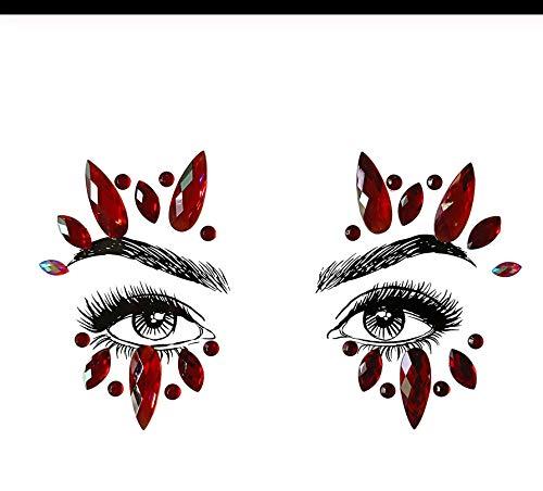 LFVGUIOP Temporäre Tattoo-Aufkleber Gold Face Gems Adhesive Glitter Jewel Tattoo Hochzeit Festival Party Intime Körperkunst für Frauen Pack of 2 -