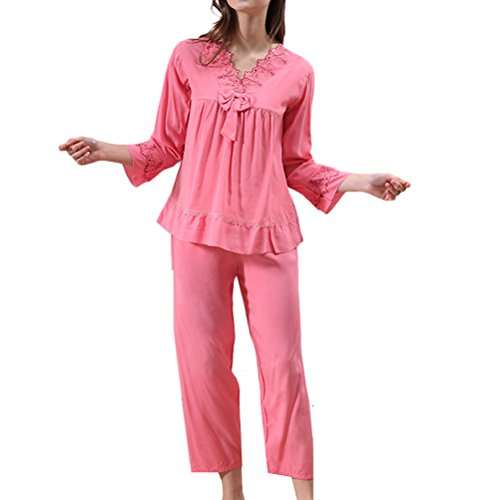 Zhhlaixing Women's Temperament V-collar Nightwear Comfort Long Sleeve Sleepwear Set Watermelon Red