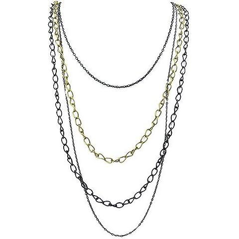 Semplice collana della catena a strati di collegamento Maglioni, strati di collegamento Collana Womene