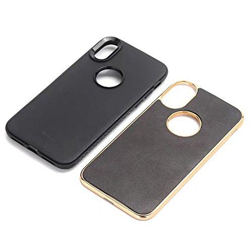 Ultra Thin und leichte Retro verrückte Pferd Leder Skin Dual Layer PC + TPU Dual Layer PC + TPU Hybrid Shell Cover Case [Shockproof] für iPhone X Edition ( Color : Gray ) Black