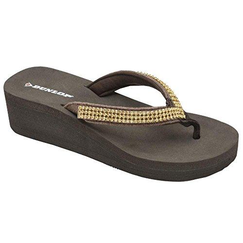 Dunlop Sandali infradito da donna zoccolo basso Brown Diamante