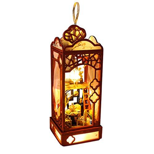FBGood Kronleuchter Form DIY Miniatur Haus, 3D Holz Puppenhaus Kreativ Dollhouse Möbel Modell Baukasten mit LED Licht Home Decor Puzzle Spielzeug Geburtstag Geschenk für Jungen und Mädchen (Kronleuchter Light Kit)