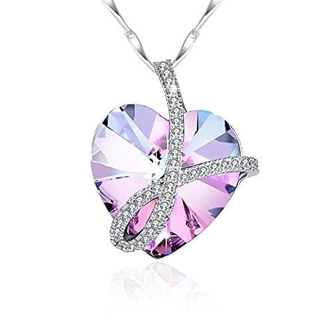 Silberkette Damen 925 mit Herzanhänger von Swarovski Kristall, Kleine Besondere