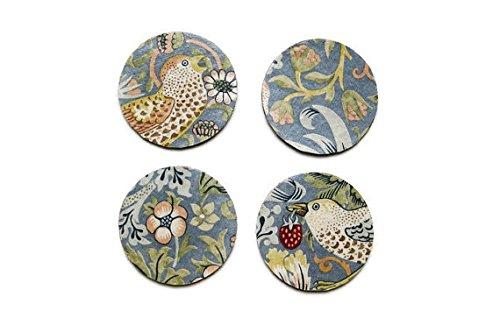 William Morris Erdbeerdieb, Kunst und Handwerk, grau, gold, rot Stoff Mittelmeer Set von vier personalisierbar Kork Untersetzer, Getränke Mats.