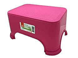 Click Home Design - Step Stool - Bright Beautiful Collection 35528 - 11.5 x 7.3 x 6.5 inches Pink