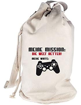 Shirtstreet24, WELT RETTEN, Gamer bedruckter Seesack Umhängetasche Schultertasche Beutel Bag