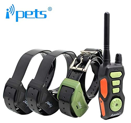 iPets Petrainer Pet618 Original, 800 Metros para 1, 2 o 3 Perros a la Vez 100% Sumergible - 3 Modos - Funcionamiento Sencillo. Diseño ergonómico y pequeño. (con 3 Collares Extra)