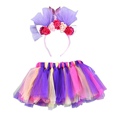 FENICAL Meerjungfrau Kostüm Set Kinder Tutu Kleid Stirnband Kinder Kostüm Outfit für Maskerade Performanc Cosplay Party Größe M (Lila)