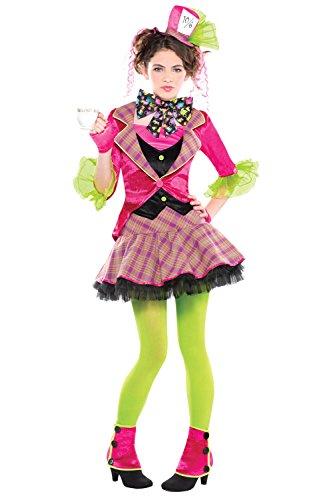 Mad Hatter Womans Kostüme (Mädchen Mad Hatter Kostüm & Strumpfhosen Fancy Kleid)