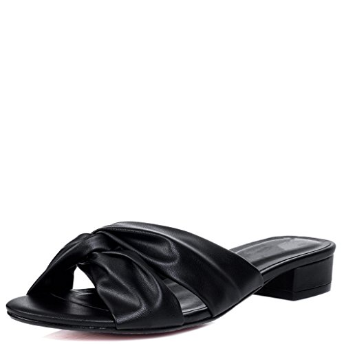 Wide Fit Mid Heel Sandals Shoes Black Leather Style for sale  Delivered anywhere in UK