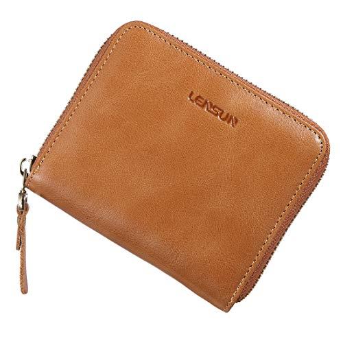 Damen Lila Flache Geldbörse (Geldbörse Damen Klein, Lensun Leder Mini Münze Portmonee mit Reißverschluss um Kartenfächer Brieftasche für Frauen)