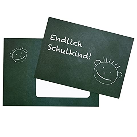 5 Einladungskarten zur Einschulung - Kreidetafel mit Gesicht - zum