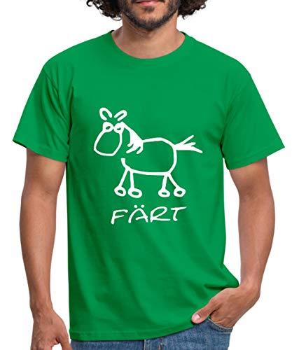 Spreadshirt Färt Lustiges Pferd Zeichnung Männer T-Shirt, M, Kelly Green -