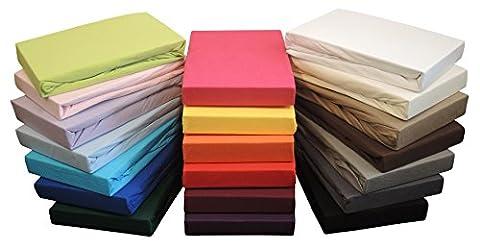 Jersey Spannbetttuch Spannbettlaken in allen Größen und vielen Farben (90x200 bis 100x200 cm,