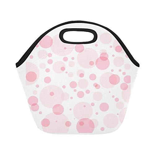 Isolierte Neopren-Lunch-Bag Pink Poka Dots Zusammenfassung Pink Große wiederverwendbare thermische dicke Lunch-Tragetaschen Für Lunch-Boxen Für draußen, Arbeit, Büro, Schule (Poka Dot)