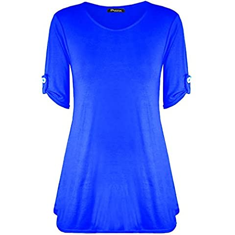 Womens Ladies Plus Size Button Short Turn Up Sleeves Flared Swing Dress Long Top UK 8-26 (XXXL (24-26 UK), Royal