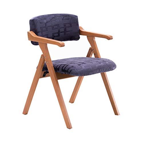 Chaise pliante en bois massif Chaise à manger Fauteuil Accueil Restaurant Bureau Balcon Chaise Réunion Loisirs Chaise/Bleu / Charge maximale 200KG