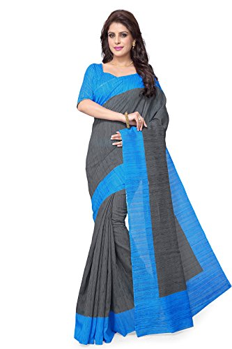 SOURBH Women's Raw Silk (NOT Pure Silk) Printed Saree (2198_Grey,Turquoise)