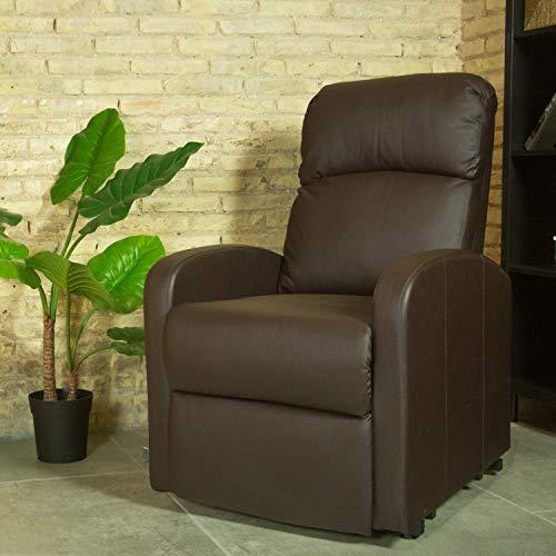 Astan Hogar Premium Plus Sillón Relax Con Reclinación Manual, Tapizado en Tela Negro, Compacto