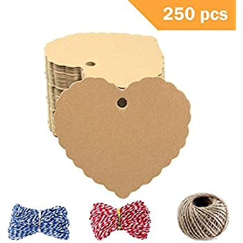 250 Pcs Heart Kraft Paper Gift Tags /& Blank Gift Tag Party Gift Tag Name Price Labels with 3 Styles Crafts Twines Brown DIY Blessing Cards Greeting Card Wedding Favor Tags