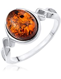 Ornami Silver Oval Amber and Twisted Shoulder Ring