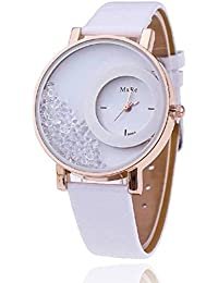 Goldenize Fashion New Arrival Special Collection Analog White Dial White Diamond With White Leather Strap Women's...