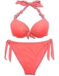 bff855e6cc7d78 EONAR Damen Seitlich Gebunden Bikini-Sets Abnehmbar Bademode Push-up  Bikinioberteil mit Nackenträger