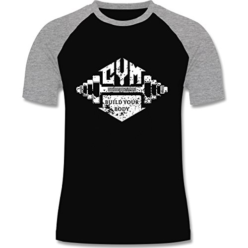 CrossFit & Workout - Gym Build your Body - zweifarbiges Baseballshirt für Männer Schwarz/Grau Meliert