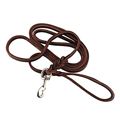OFTEN 2.5m Hand-crafted Brown Soft Leather Dog Slip Over Loop Hoop Training Leash Lead Long Strong 1