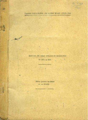 NOTES PRISES AU COURS DE Mr TERSEN. HISTOIRE DES IDEES SOCIALES ET RELIGIEUSES DE 1815 à 1914. CLASSE PREPARATOIRE AUX GRANDES ECOLES LITTERAIRES.