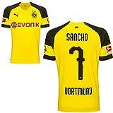 Puma BVB Borussia Dortmund Home Trikot mit Bundesliga Logo 2018 2019 Herren Jadon Malik Sancho 7 Gr L