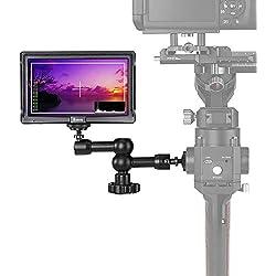 Eyoyo E5 Moniteur de Terrain Écran 5 Pouces HDMI IPS LCD FHD 1920x1080 16:9 Entrée 4K Avec Sun-capot Portable Pour DSLR Reflex Caméra Caméscope Sony A6 A7 GH4 GH5 Canon 5D Nikon(Batterie Non Inclus)