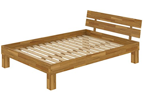 Erst-Holz® Doppelbett Französisches Bett 140x200 Futonbett Massivholzbett Eiche Rollrost 60.88-14