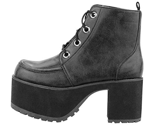 T.U.K. Shoes Women's Distressed Black 4-Eye Nosebleed Boot EU37 / UKW4 - Schwarz Faux Leder-lift