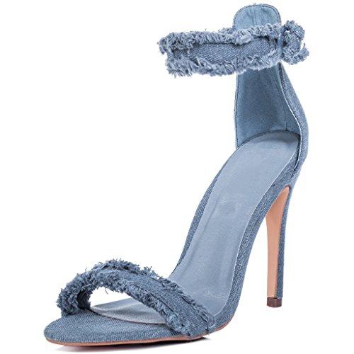 SPYLOVEBUY POLLY Femmes Ajustable Boucle à Talon Aiguille Sandales Bleu - Denim
