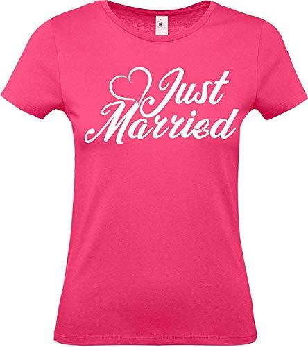 Lady T-Shirt, Just Married Hochzeit Liebe Herz Mr und Mrs, pink, M -