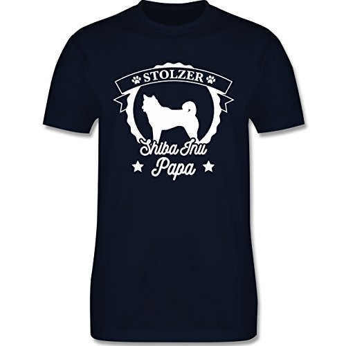 Shirtracer Hunde - Stolzer Shiba Inu Papa - Herren T-Shirt Rundhals Navy Blau
