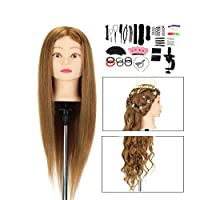 """Training Head, Neverland 26"""" Hairdressing Stying Head, 100% Synthetic Fiber Hair Cosmetology Doll Head with Braid Set and Free Clamp (Purple)"""