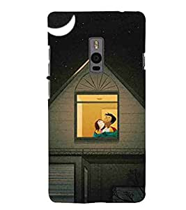 For OnePlus 2 :: OnePlus Two :: One +2 moon Printed Cell Phone Cases, stars Mobile Phone Cases ( Cell Phone Accessories ), couple Designer Art Pouch Pouches Covers, love Customized Cases & Covers, romantic Smart Phone Covers , Phone Back Case Covers By Cover Dunia