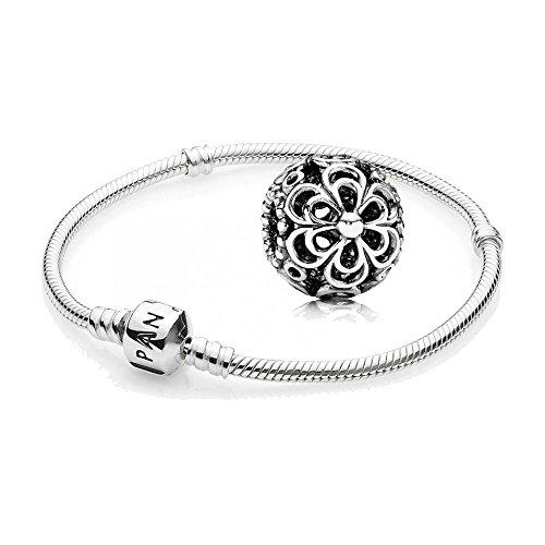 Original-PANDORA-Starterset-Geschenkset-925er-Sterling-Silber-1-Silber-Armband-Gre-19-cm-ArtNr-590702HV-19-und-1-Filigranes-Silber-Charm-Blten-ArtNr-790965