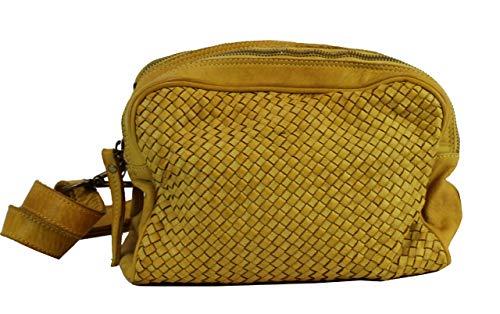 BZNA Bag Lucy Geld Yellow Italy Designer Clutch Braided Ledertasche Umhängetasche Damen Handtasche Schultertasche Tasche Leder Shopper Neu