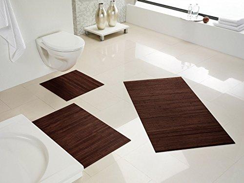 Hygienische, nachhaltige und rutschfeste Badematte aus Bambus im 3-er Set, Farbe: mocha von DE-COmmerce I Fussmatte Badteppich Bambusmatte Duschmatte Badezimmermatte Bamboo Badematte Badvorleger