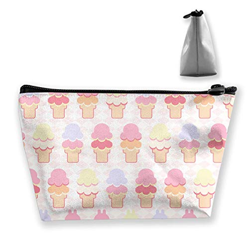 Makeup Bag Cosmetic Ice Cream Wave Cuter Portable Cosmetic Bag Mobile Trapezoidal Storage Bag Travel Bags with Zipper Bebe Satin