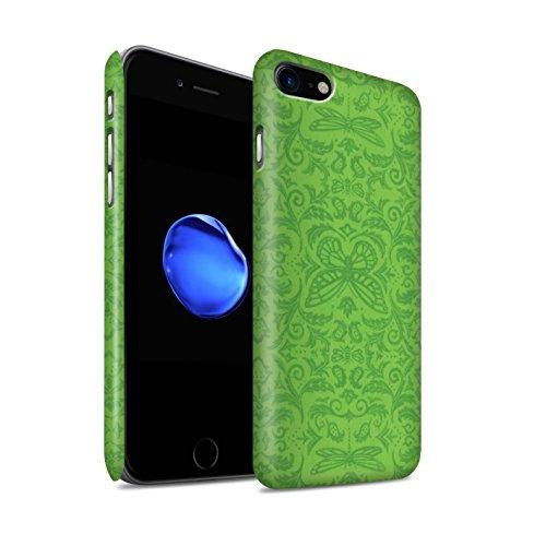 STUFF4 Matte Snap-On Hülle / Case für Apple iPhone 8 / Schwarz / Weiß Muster / Insekten Muster Kollektion Grün