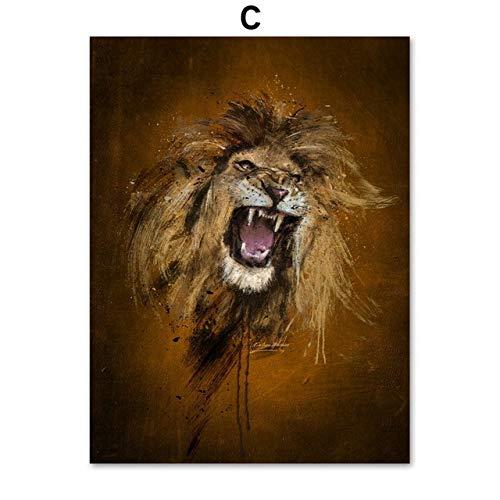 ndegdgswg Wolf Aquarell, Bär, Löwe, Tiger, Wand-Kunst-Leinwand, nordischen Stil, Poster und Gravuren, Tier-Gemälde, Wohnzimmer Dekoration 13X18 cm Ohne gerahmt c -