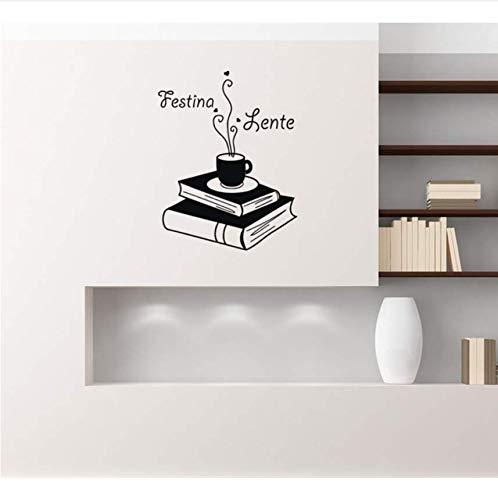 Qthxqa Festina Lente Zitat Wandtattoo Buch Kaffee Abnehmbare Vinyl Wandaufkleber Wohnkultur Schlafzimmer Kunst Wand Tattoo Coffee Store 56 * 73 Cm