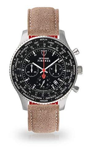 DETOMASO Firenze XXL Reloj de Pulsera para Hombre Cronógrafo Analógico  Cuarzo Arena - Correa de Piel f0408e7edc0